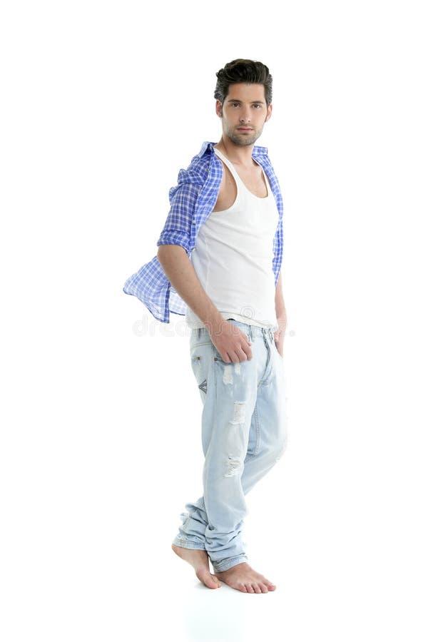Hombre hermoso del dril de algodón ocasional integral sobre blanco foto de archivo libre de regalías