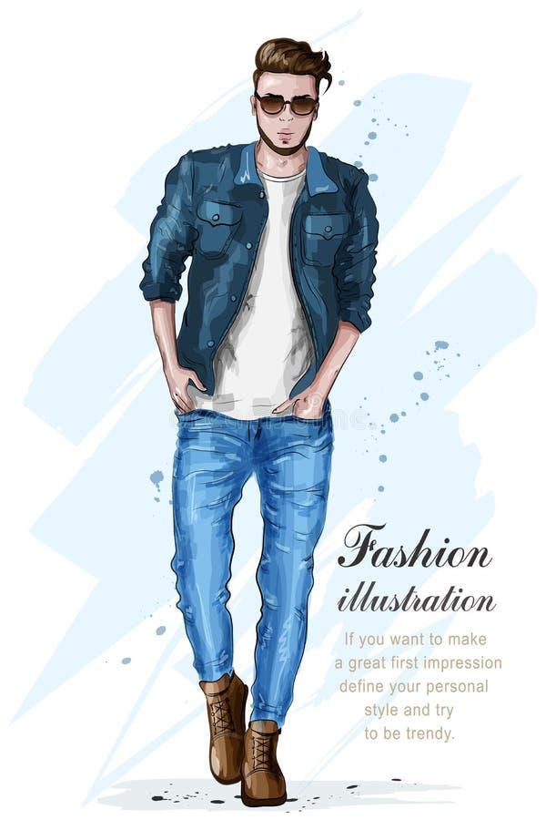 Hombre hermoso elegante en ropa de la moda Hombre de la manera Modelo masculino dibujado mano bosquejo stock de ilustración