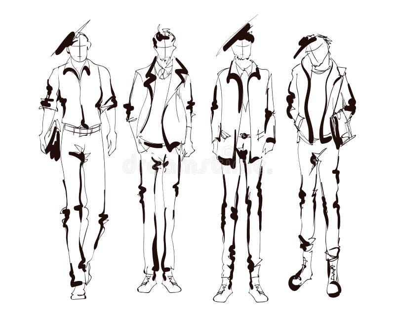 Hombre hermoso elegante en ropa de la moda Hombre de la manera Sistema masculino exhausto de los modelos de la mano bosquejos Hom libre illustration