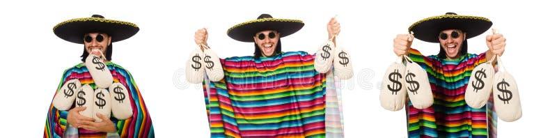 Hombre hermoso en el poncho vivo que sostiene bolsos del dinero aislados en pizca imagenes de archivo
