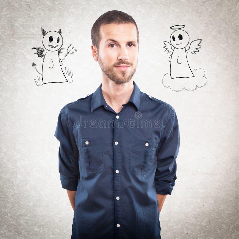 Hombre hermoso joven con ángel y diablo libre illustration