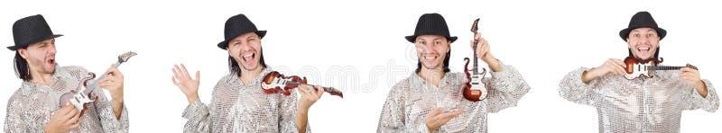 Hombre hermoso joven que toca la peque?a guitarra imágenes de archivo libres de regalías