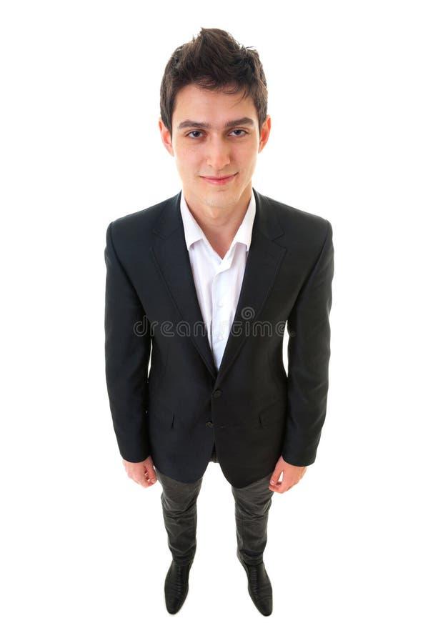 Hombre hermoso sonriente de la persona del negocio de los jóvenes en el fondo blanco F imagen de archivo