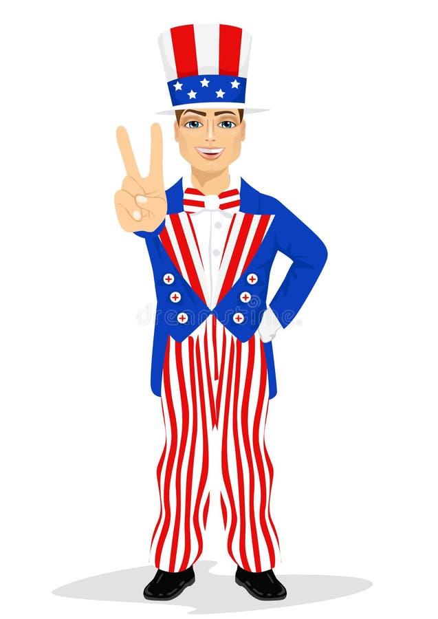 Hombre hermoso vestido para arriba como tío Sam stock de ilustración