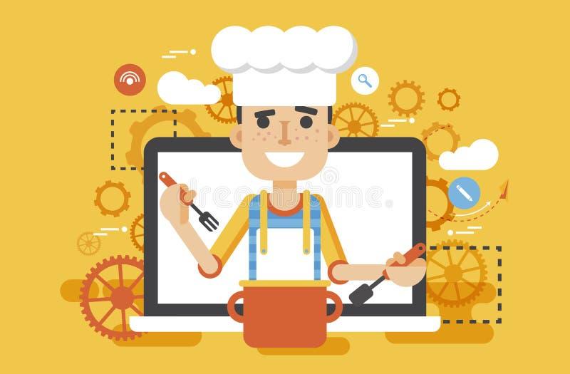 Hombre HLS el dietético del nutricionista del cocinero del cocinero del ejemplo del vector que cocina el blog de la receta de la  stock de ilustración