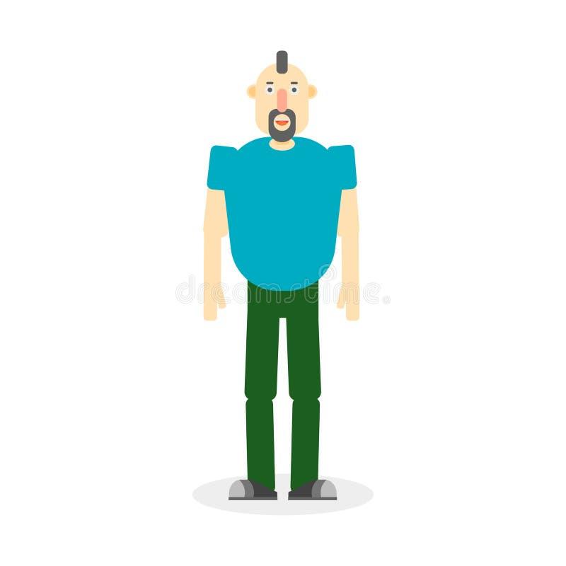 Download Hombre Ilustrado Con El Mohawk Ilustración del Vector - Ilustración de aislado, azul: 100528218
