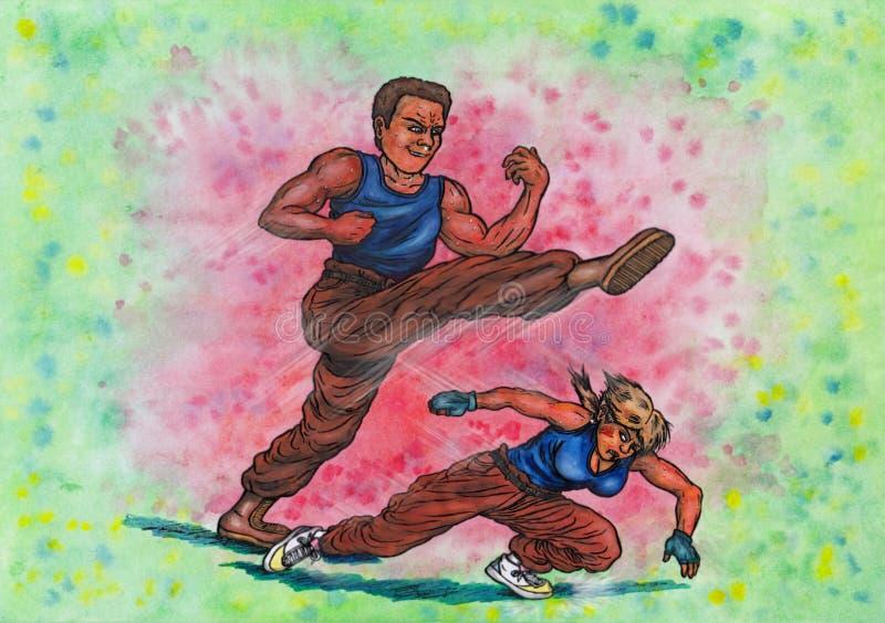 Hombre incondicional de la lucha contra la mujer (el poder de artes marciales, 2014) ilustración del vector