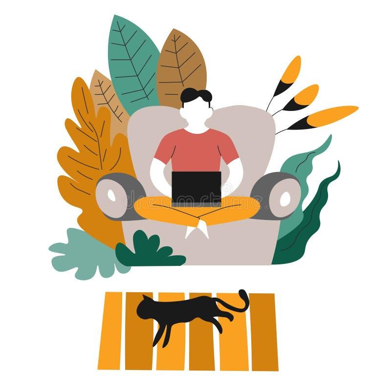Hombre independiente o distante de la preparación del trabajo en el sofá con el ordenador portátil ilustración del vector