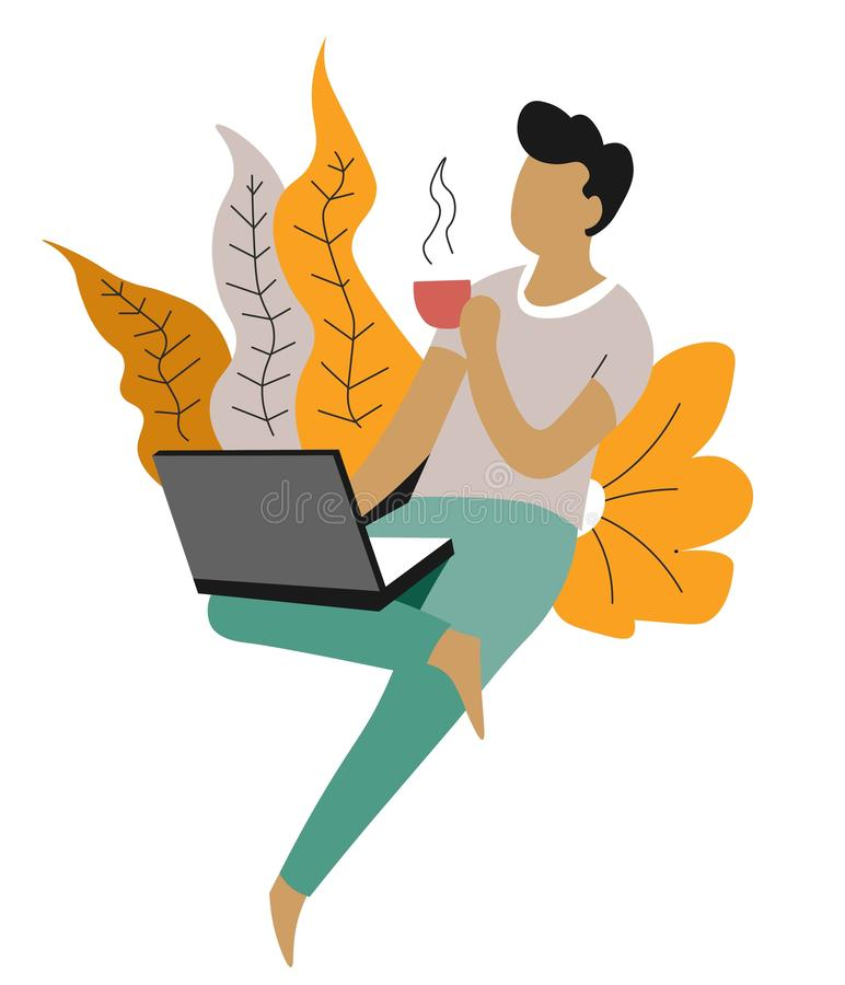 Hombre independiente y distante del trabajo con el ordenador portátil y el carácter aislado café ilustración del vector