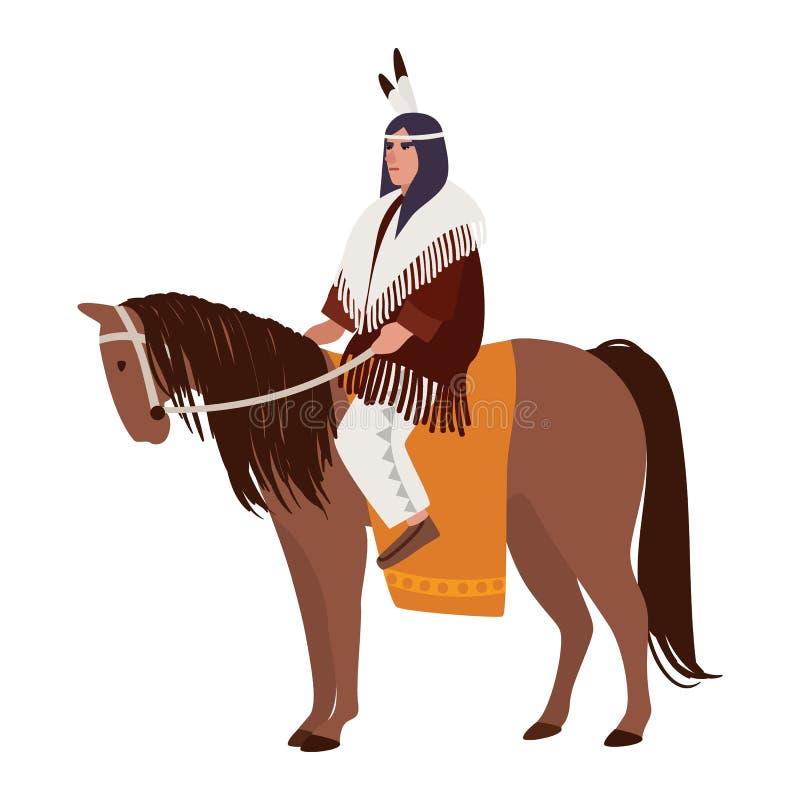 Hombre indio americano que lleva la ropa étnica que se sienta en caballo Jinete del jinete o de lomo de caballo Población indígen libre illustration