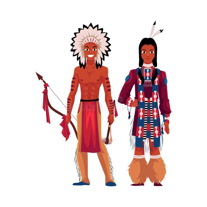Hombre indio del nativo americano descamisado en el tocado de la pluma, camisa tribal libre illustration