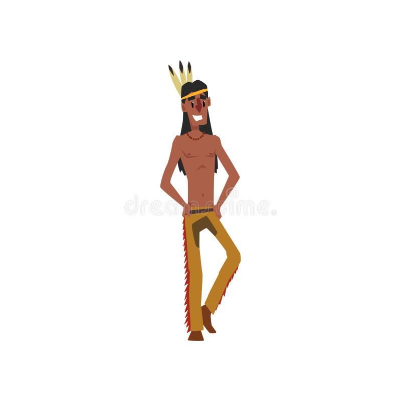 Hombre indio del nativo americano en el ejemplo tradicional del vector del traje en un fondo blanco libre illustration