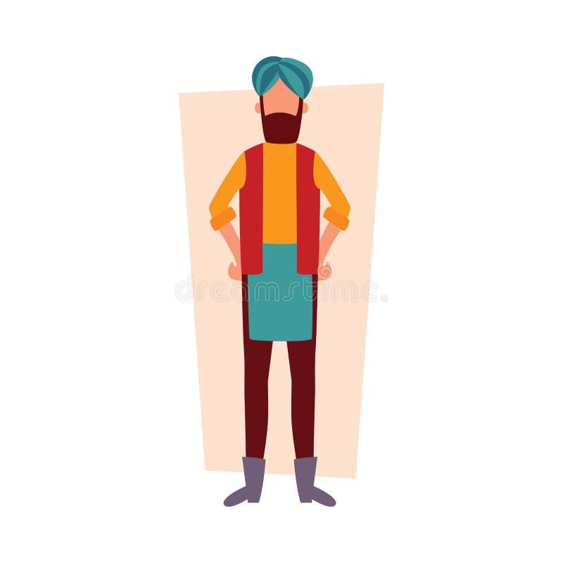 Hombre indio en la ropa tradicional que se coloca con estilo plano en jarras de la historieta de los brazos libre illustration