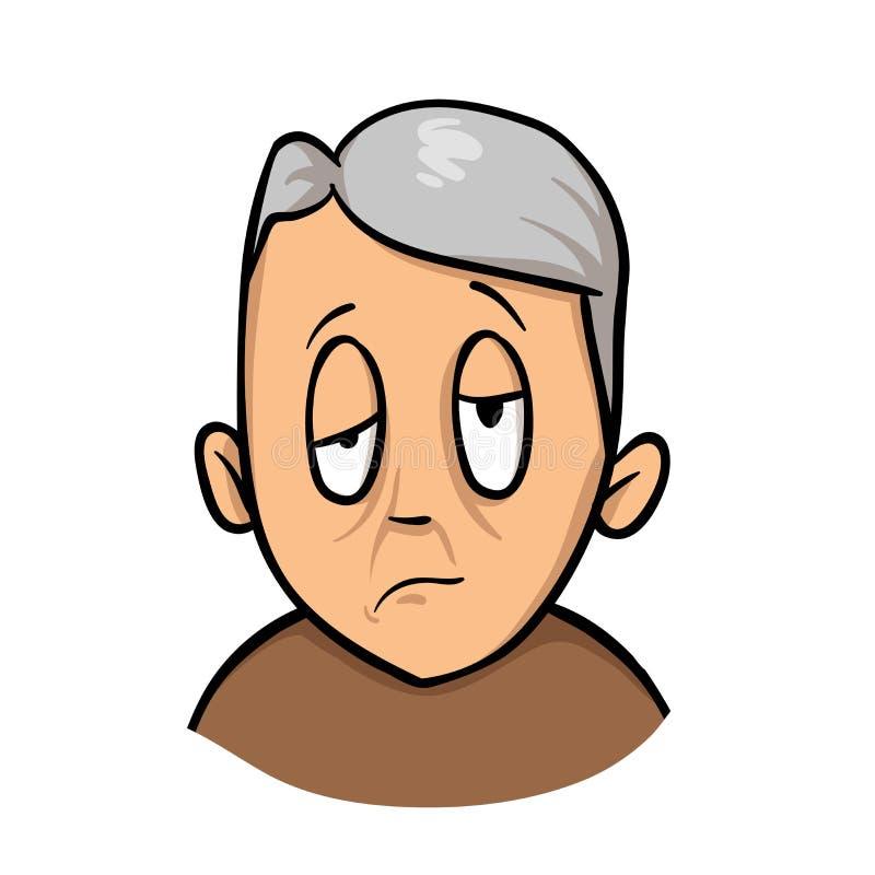 Hombre infeliz maduro mayor con las características faciales torcidas Movimiento, tensión, enfermedad Icono plano del diseño Vect stock de ilustración