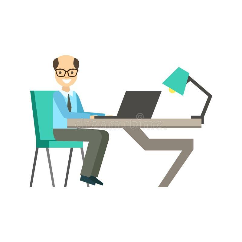 Hombre intrépido en Glassins en su escritorio de trabajo, Coworking en atmósfera informal en la oficina conceptora moderna Infogr ilustración del vector