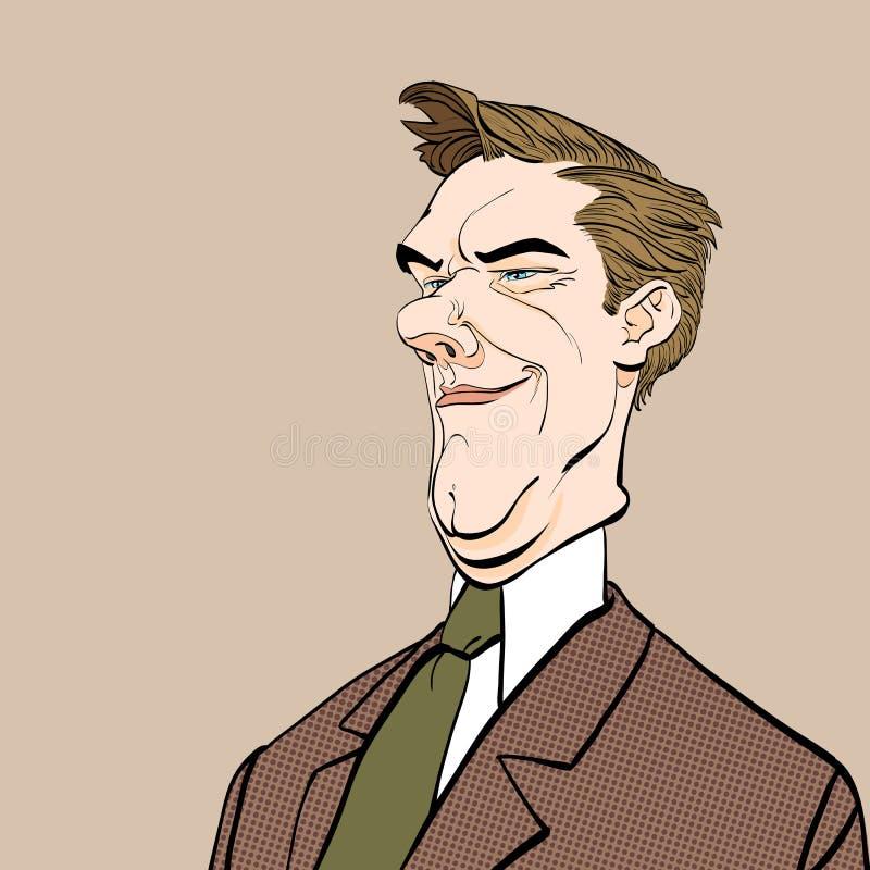 Hombre irónico Político malévolo Personaje de dibujos animados Fondo de semitono libre illustration