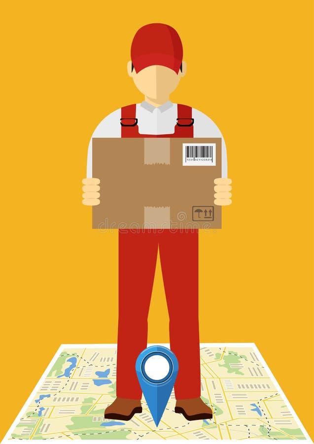 Hombre isométrico, concepto de la entrega Hombre y paquete, diseño aislado stock de ilustración