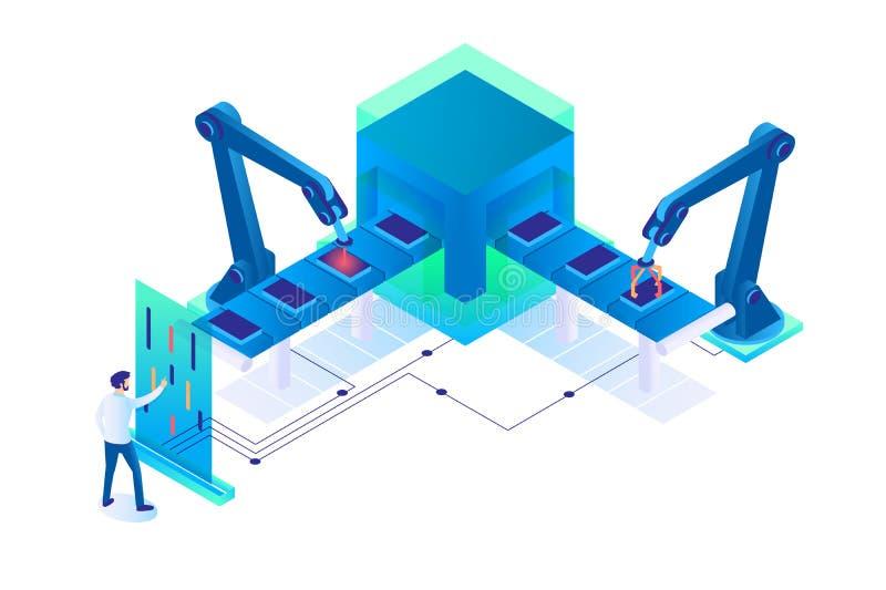 hombre isométrico 3d en el trabajo con la producción semi automática ilustración del vector
