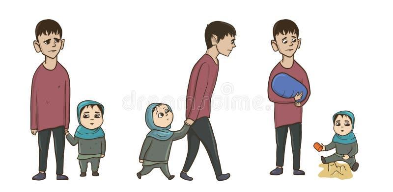 Hombre joven árabe con una niña, una hermana o una hija Sistema del ejemplo del vector, en blanco stock de ilustración