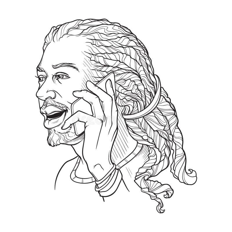 Hombre joven afroamericano con los dreadlocks que hablan en el teléfono y la sonrisa N aislada bosquejo linear blanco y negro ilustración del vector