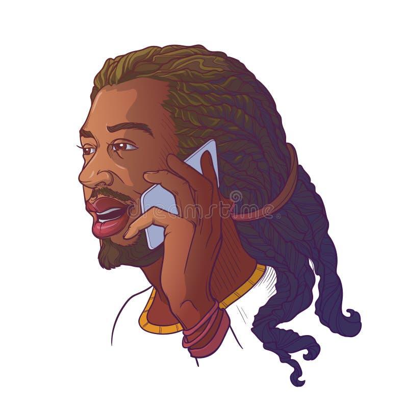 Hombre joven afroamericano con los dreadlocks que hablan en el teléfono y la sonrisa N aislada bosquejo linear coloreada blanca stock de ilustración
