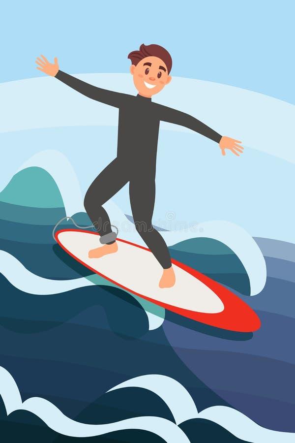 Hombre joven alegre que practica surf en olas oceánicas Deporte de agua extremo Reconstrucción activa del verano o ilustración del vector
