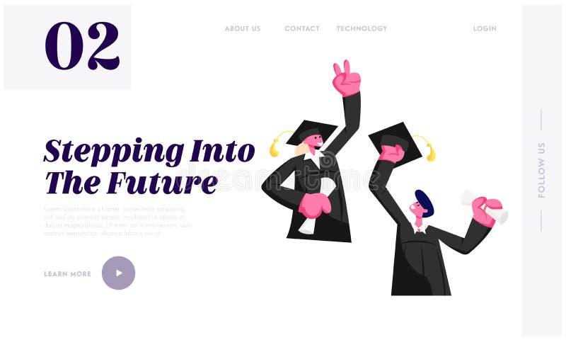 Hombre joven alegre y mujer vestidos en la capa y el diploma académico de la tenencia del casquillo que celebran la graduación, e libre illustration