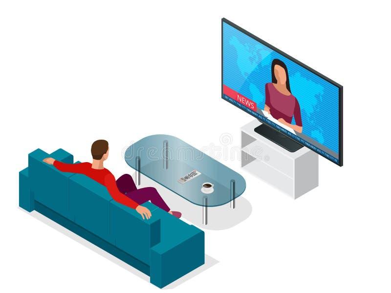 Hombre joven asentado en el sofá que ve TV, canales cambiantes Ejemplo isométrico del vector plano 3d stock de ilustración
