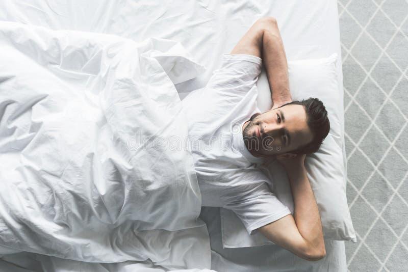Download Hombre Joven Atractivo Que Se Relaja En Cama Foto de archivo - Imagen de disfrute, atractivo: 100534170