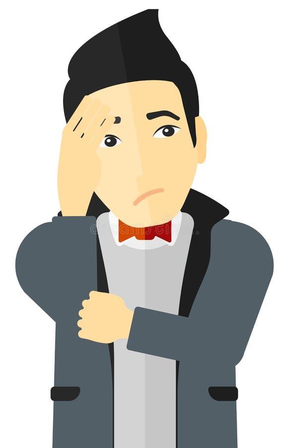 Hombre joven avergonzado ilustración del vector