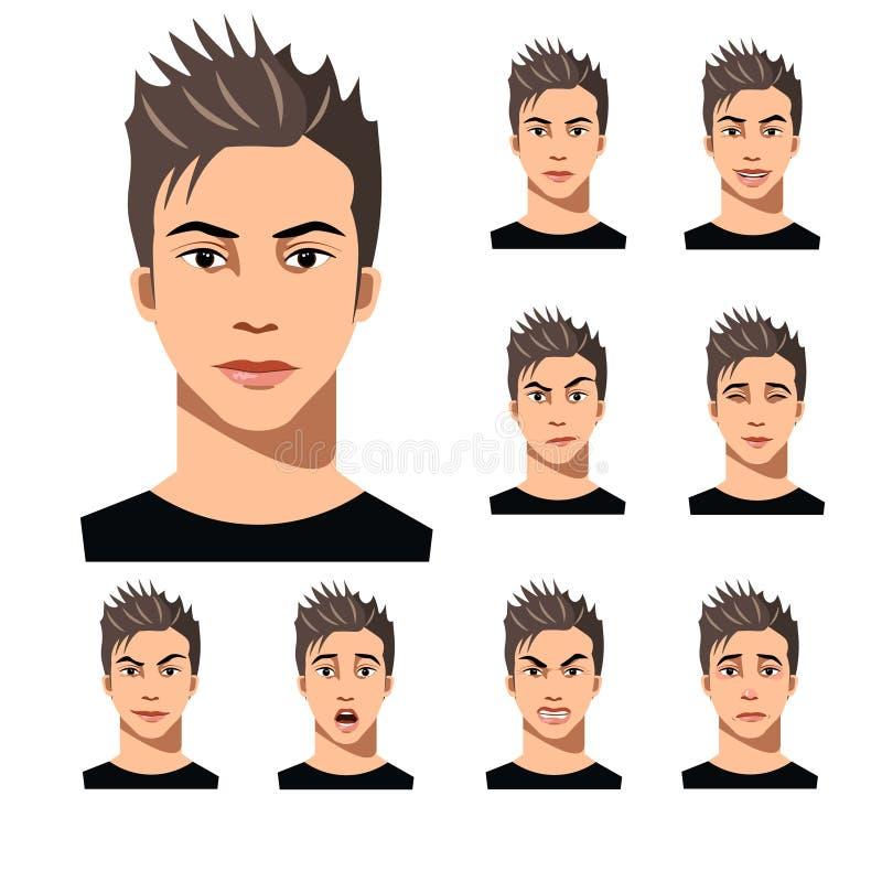 Hombre joven cabelludo atractivo en diversa colección de las expresiones de la cara ilustración del vector