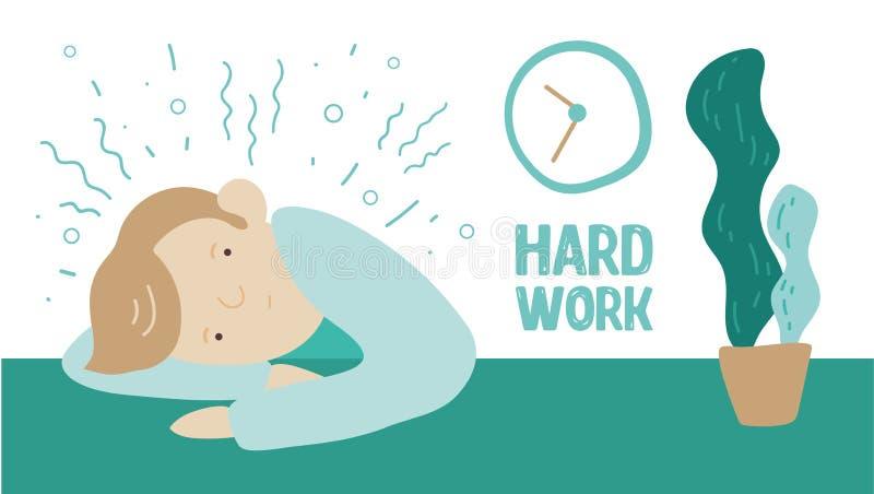 Hombre joven cansado en el ejemplo del vector del trabajo duro libre illustration