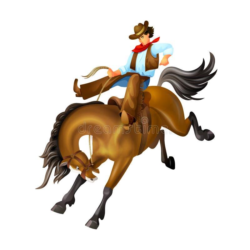 Hombre joven, carácter del oeste salvaje del vaquero, jinete en caballo stock de ilustración