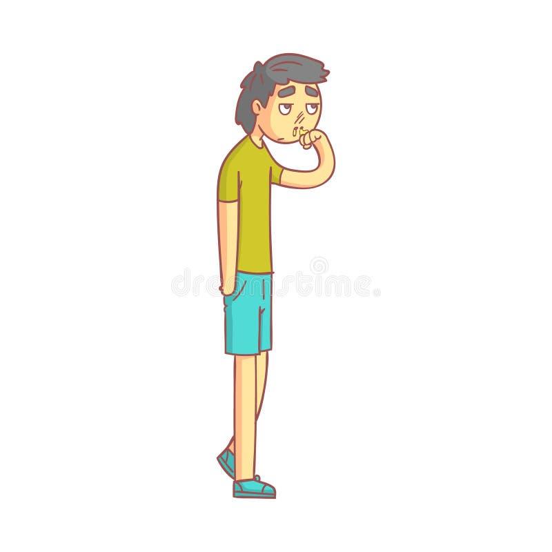 Hombre joven con con una gripe y una nariz corriente, moco que fluye de su nariz Personaje de dibujos animados colorido ilustración del vector