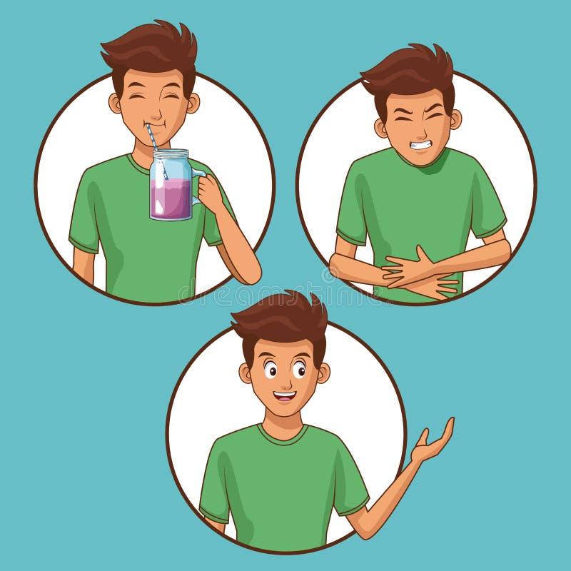 Hombre joven con dolor de estómago ilustración del vector