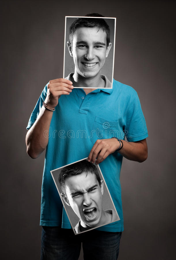 Hombre joven con dos caras fotos de archivo libres de regalías