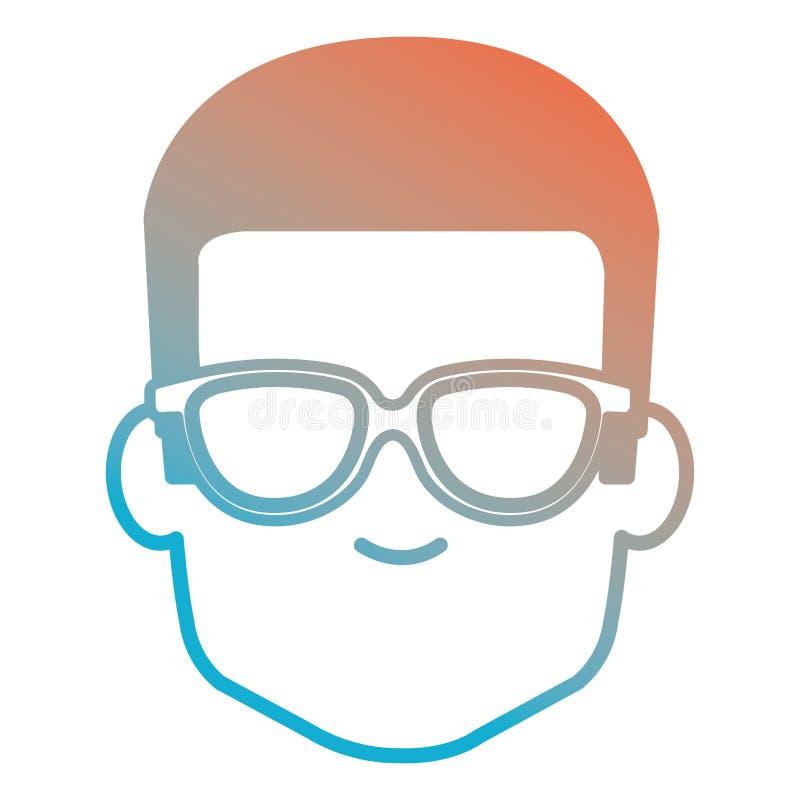 Hombre joven con el avatar principal de los vidrios stock de ilustración