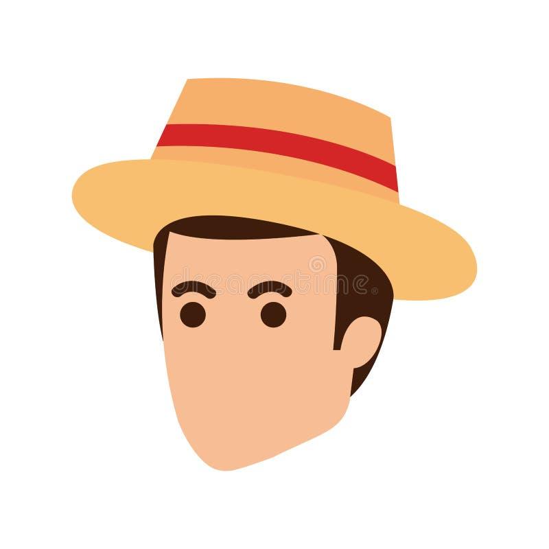 Hombre joven con el carácter principal del sombrero turístico ilustración del vector