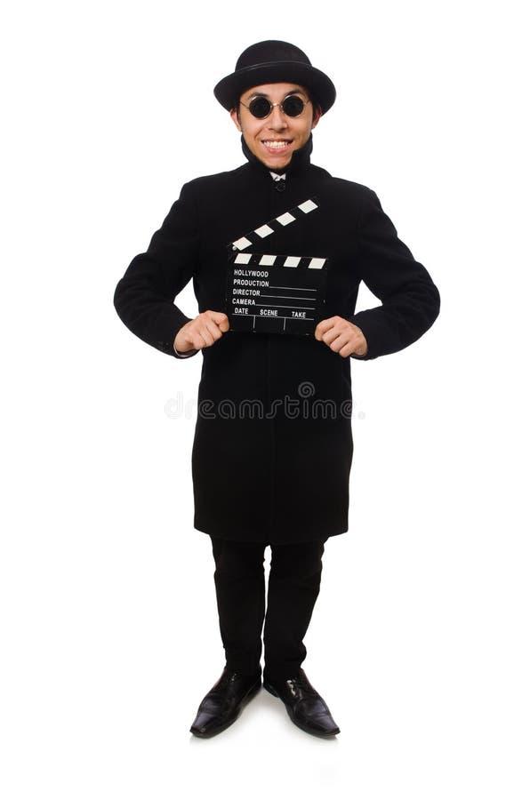 Hombre joven con el chapaleta-tablero aislado en blanco imágenes de archivo libres de regalías