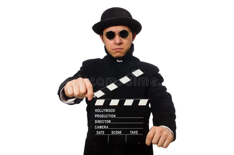 Hombre joven con el chapaleta-tablero aislado en blanco foto de archivo