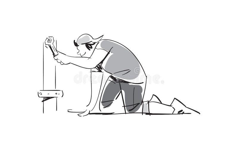Hombre joven con el icono del vector de la llave ajustable libre illustration