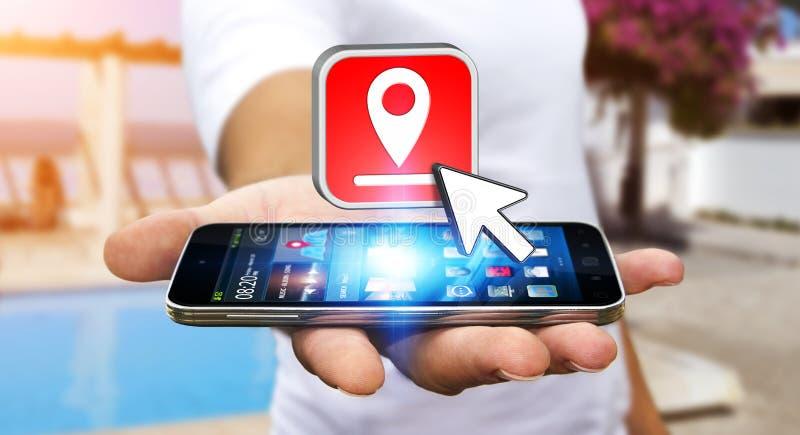 Hombre joven con GPS digital moderno libre illustration