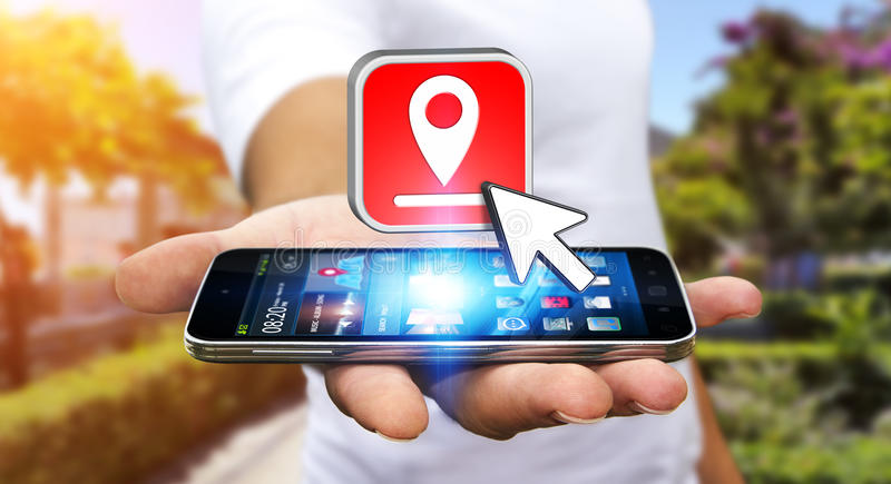 Hombre joven con GPS digital moderno ilustración del vector