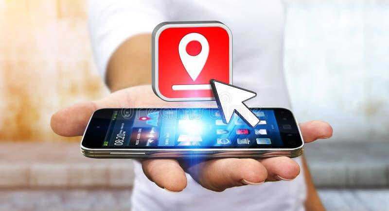 Hombre joven con GPS digital moderno stock de ilustración