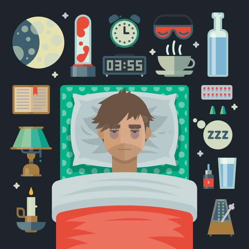 Hombre joven con insomnio y artículos del problema del sueño libre illustration
