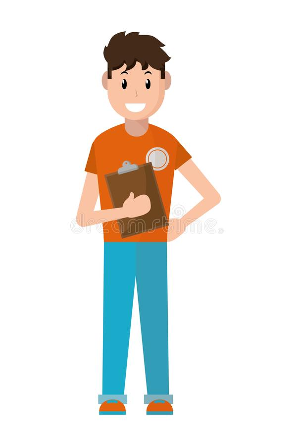 Hombre joven con la lista de control ilustración del vector