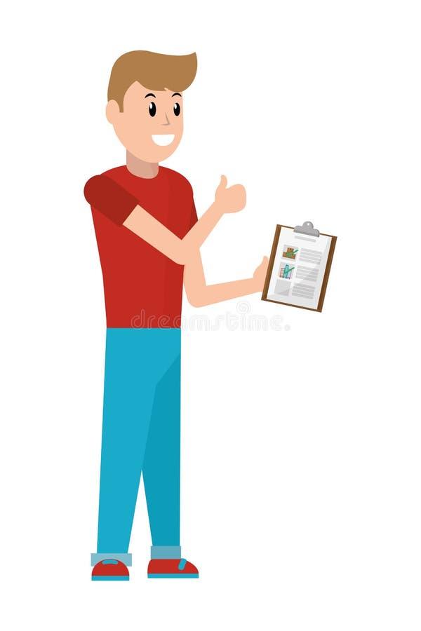 Hombre joven con la lista de control libre illustration