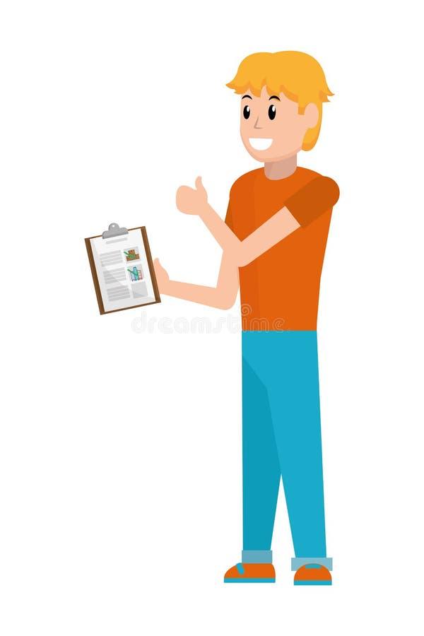 Hombre joven con la lista de control stock de ilustración