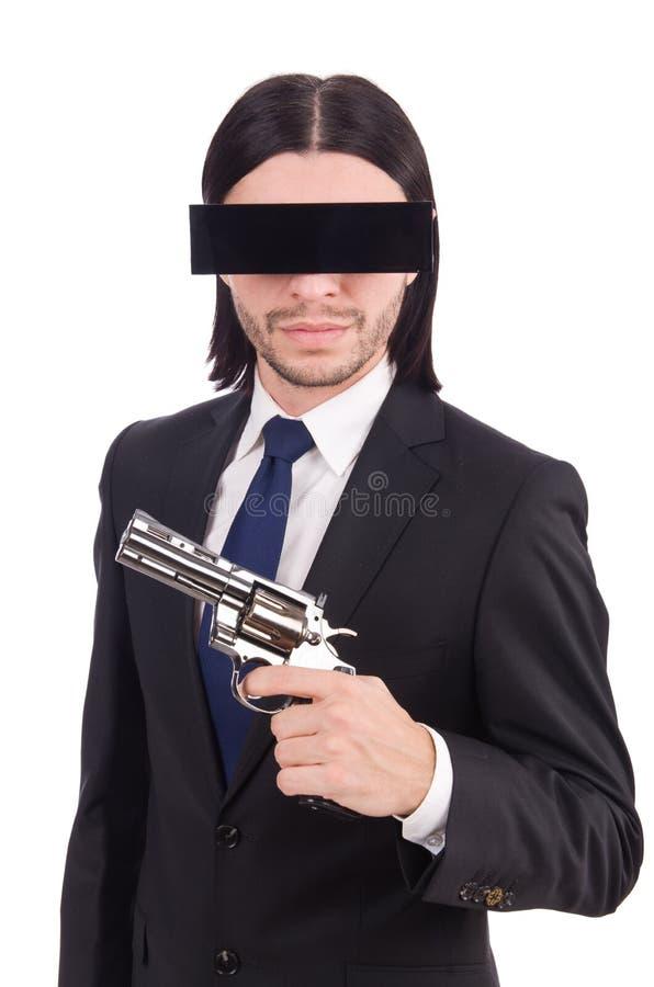 Hombre joven con la mascarilla negra en blanco imagen de archivo libre de regalías