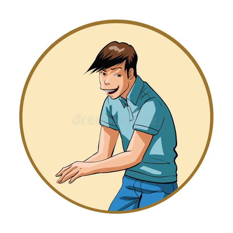 hombre joven con una mueca astuta libre illustration